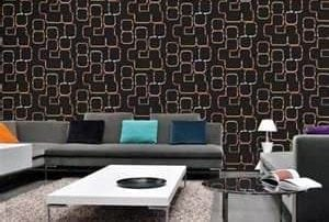 A black wall with squares on it